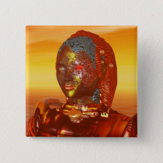 CYBORG ARES IN DESERT OF HYPERION Science Fiction Button