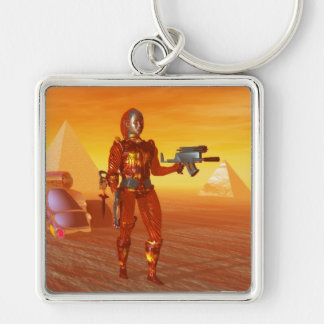CYBORG ARES IN DESERT OF HYPERION Science Fiction Silver-Colored Square Keychain