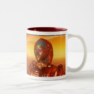 CYBORG ARES IN DESERT OF HYPERION Science Fiction Two-Tone Coffee Mug