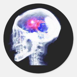 Cyborg Brain Classic Round Sticker