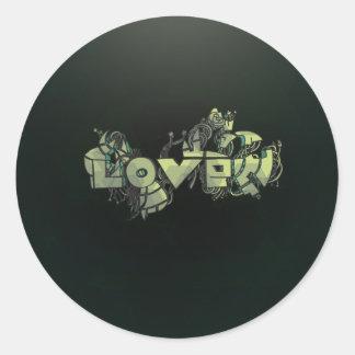 Cyborg love doodles background classic round sticker