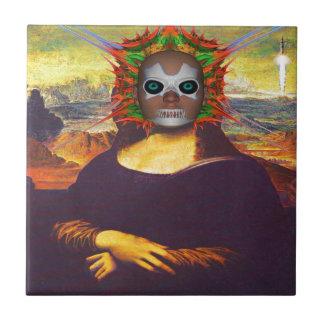 Cyborg Mona Lisa Azulejo Cuadrado Pequeño