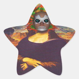 Cyborg Mona Lisa Pegatina En Forma De Estrella
