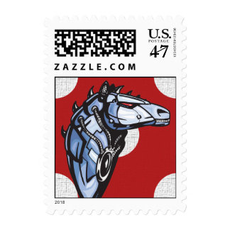 Cyborg Racing Horse Postage