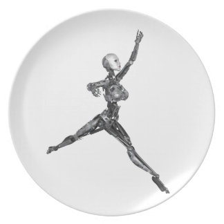Cyborg Robot in Jete Form Plate