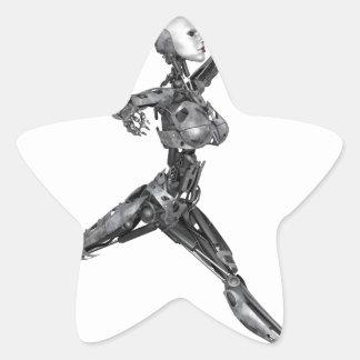 Cyborg Robot in Jete Form Star Sticker