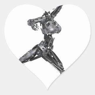 Cyborg Robot in Jete Form Heart Sticker