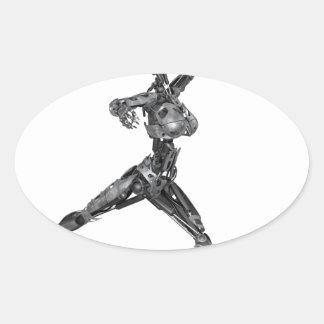 Cyborg Robot in Jete Form Oval Sticker