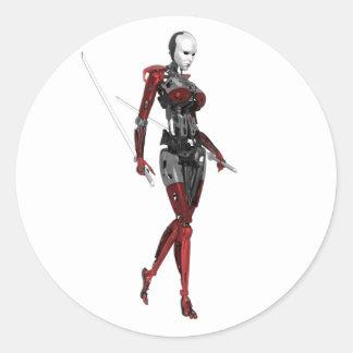 Cyborg Samurai Walking Death Classic Round Sticker