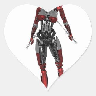 Cyborg Samurai Walking with Two Swords Heart Sticker