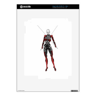 Cyborg Samurai Walking with Two Swords iPad 2 Decals