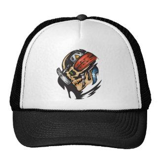 Cyborg Skull In Battle Trucker Hat