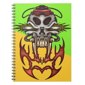 Cyborg Skull In Fire Notebook