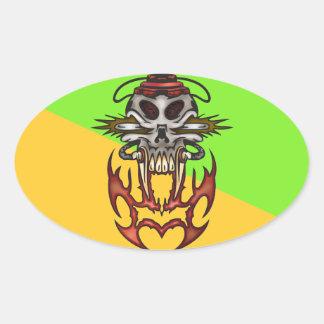 Cyborg Skull In Fire Oval Sticker