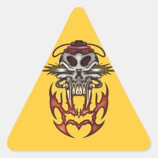 Cyborg Skull In Fire Triangle Sticker