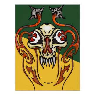 Cyborg Skull With Fangs Posters