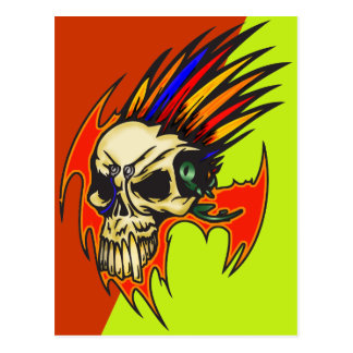 Cyborg Skull With Feathers Post Cards