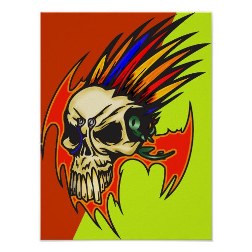 Cyborg Skull With Feathers Poster