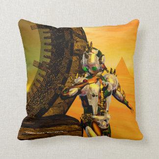 CYBORG TITAN,DESERT HYPERION Science Fiction Scifi Throw Pillow