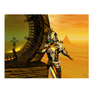 CYBORG TITAN IN DESERT OF HYPERION Science Fiction Postcard