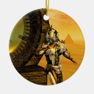 CYBORG TITAN IN HYPERION DESERT Sci-Fi Ceramic Ornament