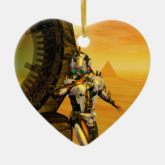 CYBORG TITAN IN HYPERION DESERT Sci-Fi Heart Ceramic Ornament