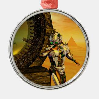 CYBORG TITAN IN HYPERION DESERT Sci-Fi Round Metal Ornament