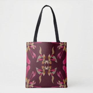 Cyclamen and Burgundy Kaleidoscope Style Pattern Tote Bag