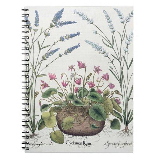 Cyclamen and Lavender: 1.Cyclamen Romanum; 2.Spica Spiral Note Book