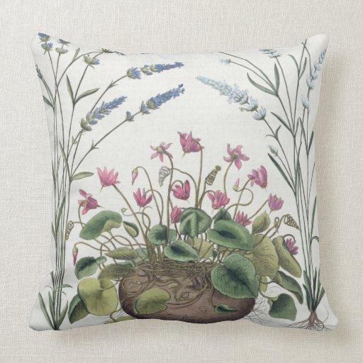 Cyclamen and Lavender: 1.Cyclamen Romanum; 2.Spica Throw Pillow