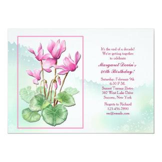 "Cyclamen Flowers Invitation 5"" X 7"" Invitation Card"