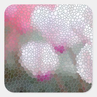 Cyclamen Flowers Mosaic Square Sticker