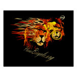 Cycle like a lion on Fire Plano Texas Cycling Poster