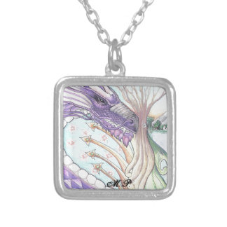 Cycle of Life Dragon Drawing Silver Plated Necklace