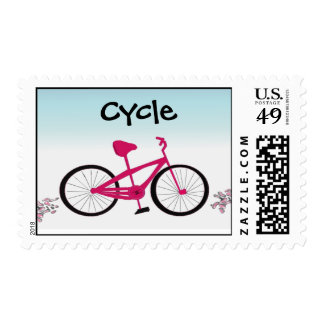 Cycle on a Pink Bicycle Postage