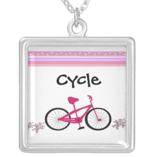 Cycle on a Pink Bicycle Silver Plated Necklace