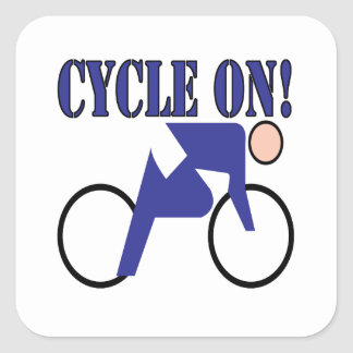 Cycle On Square Sticker