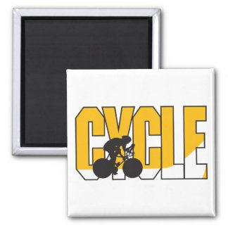 cycle text design 2 inch square magnet