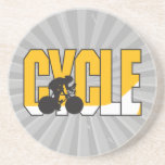 cycle text design coaster