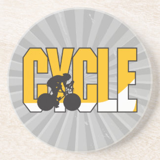 cycle text design beverage coaster