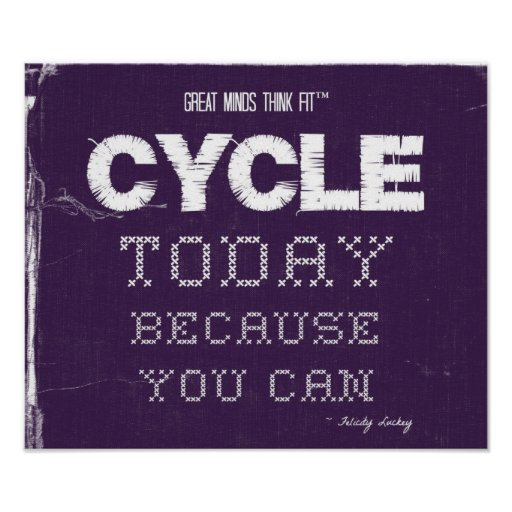 Cycle Today in Purple and White Poster