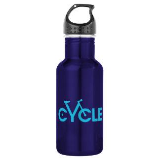 Cycle Type Bike Water Bottle, Blue graphic 18oz Water Bottle