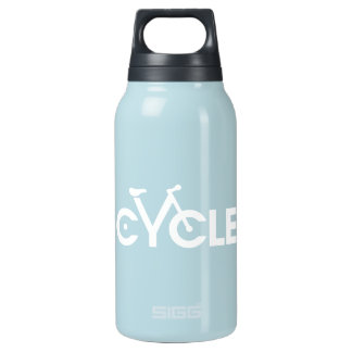 Cycle Type Bike Water Bottle, White graphic Insulated Water Bottle