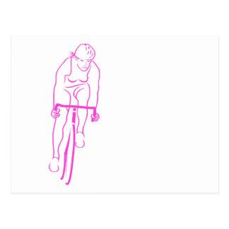 Cycle Woman Pink Postcard