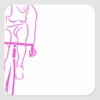 Cycle Woman Pink Square Sticker