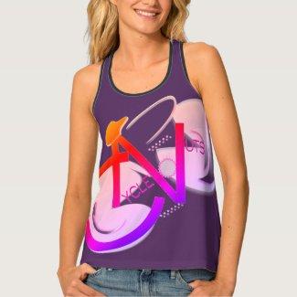 CycleNuts Women's Racerback Purple w/ Orange Logo Tank Top