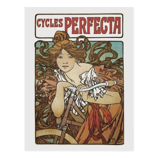Cycles Perfecta, Alphonse Mucha Art Nouveau Postcard