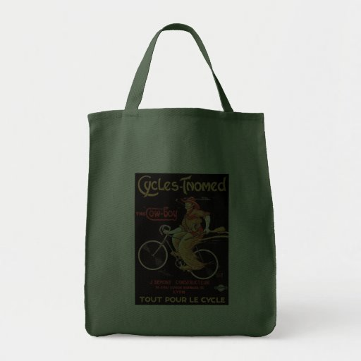 "Cycles Tnomed ""The Cowboy"" Bicycle Grocery Tote Bag"