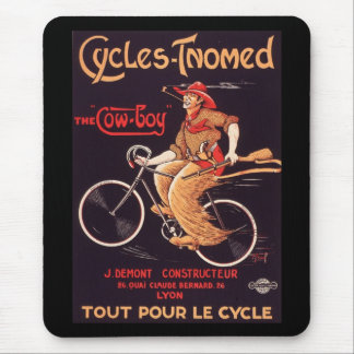 """Cycles Tnomed """"The Cowboy"""" Vintage French Bike Ad Mouse Pad"""