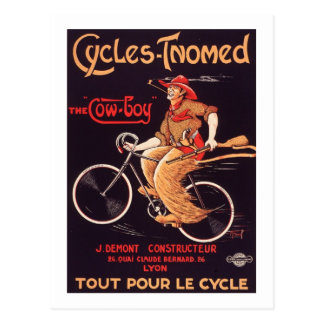 "Cycles Tnomed ""The Cowboy"" Vintage French Bike Ad Post Card"
